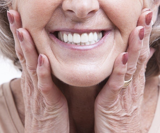 Woman showing off healthy smile